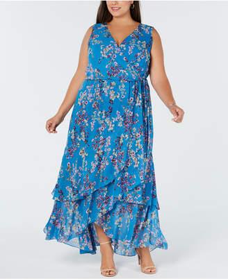 INC International Concepts I.n.c. Plus Size Ruffle-Trim Wrap Maxi Dress, Created for Macy's