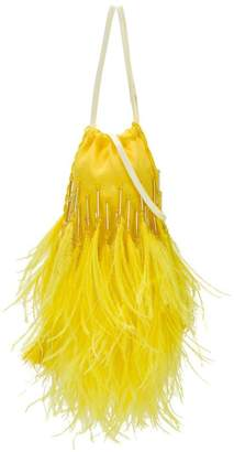 ATTICO yellow Ostrich feather mini pouch