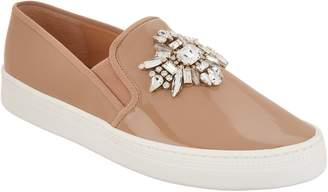 Badgley Mischka Jeweled Patent Slip-on Sneakers - Barre