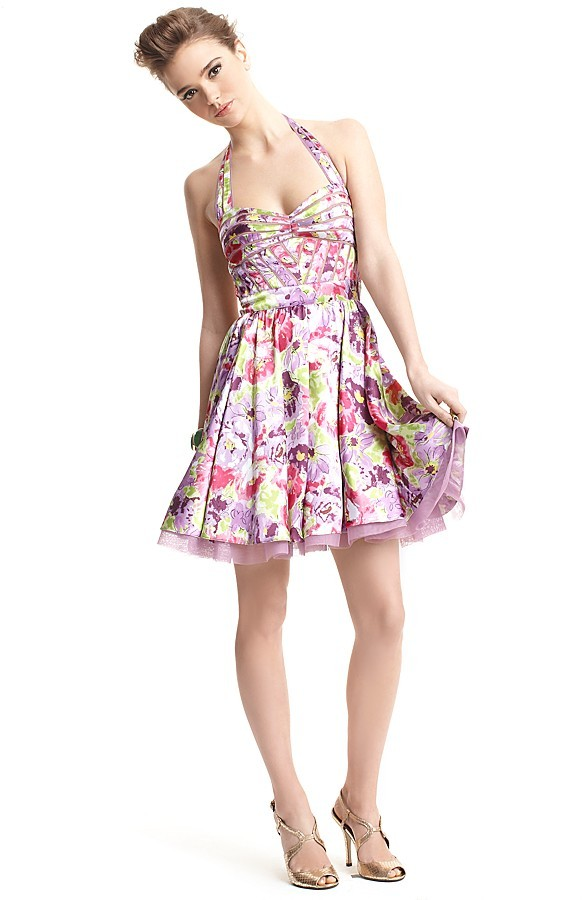 Aqua Retro Floral Print Halter Dress