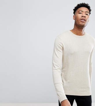 Asos DESIGN TALL Crew Neck Cotton Sweater In Oatmeal