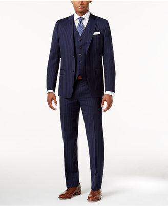 Lauren Ralph Lauren Men's Total Stretch Navy Wide Pinstripe Pure Wool Slim-Fit Vested Suit $695 thestylecure.com