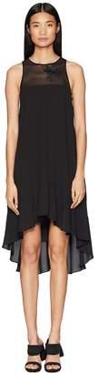 Halston Sleeveless High Neck Flowy Dress w/ Embellishment Women's Dress