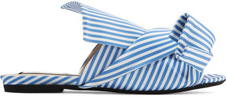 No. 21 - Knotted Striped Satin Sandals - Blue $560 thestylecure.com