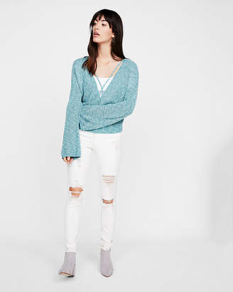 Express Surplice Cross Front Bell Sleeve Pullover
