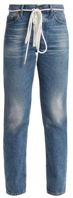Off-white - High Rise Slim Leg Jeans - Womens - Mid Blue