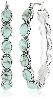 Lucky Brand Silver-Tone and Faux Hoop Earrings