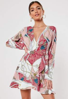 Missguided Pink Chain Print Satin Wrap Front Skater Dress