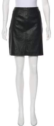 St. John Leather Mini Skirt