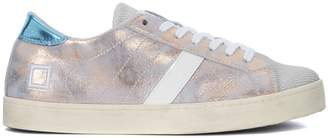 D.A.T.E Hill Low Stardust Light Blue And Pink Laminated Leather Sneaker