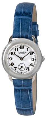 Avalon Women 'sレトロVシリーズシルバートーンブルーレザーストラップウォッチ# 8422-sx-blu