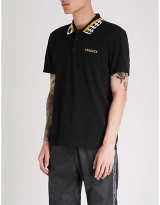 Versace Checked-collar slim-fit cotton-piqué polo shirt