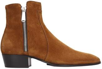 Balmain High Heels Ankle Boots In Leather Color Suede