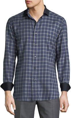Brioni Men's Long-Sleeve Fitted Flannel Shirt