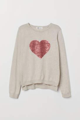 H&M Reversible-sequin Sweater - Beige