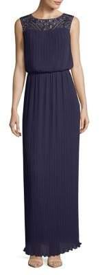 Alex Evenings Pleated Sleeveless Column Gown