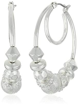 "Nine West Classics"" -Tone Beaded Click It Hoop Earrings"