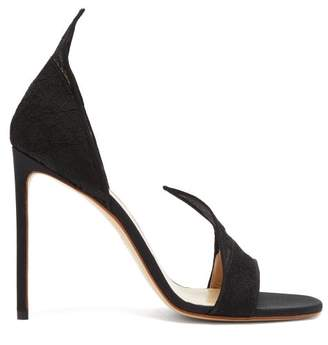 Francesco Russo Pointed Upper Lace And Leather Sandals - Womens - Black