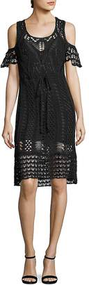See by Chloe Women's Cold-Shoulder Crochet Cotton Dress
