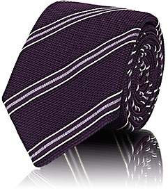 Barneys New York Men's Striped Waffle-Textured Silk Necktie - Purple