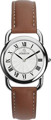 Michel Herbelin Equinox Midi Women's Quartz Watch with White Dial Analogue Display and Brown Leather Strap 17477/08GO