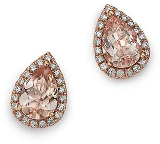 Bloomingdale's Morganite Teardrop & Diamond Stud Earrings in 14K Rose Gold -100% Exclusive