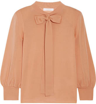 Chloé Pussy-bow Wool Sweater - Sand