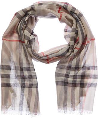 Burberry Metallic Check Silk & Wool-Blend Scarf