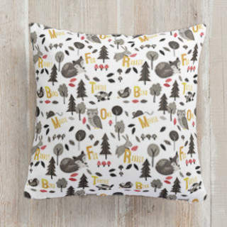 Woodland Animals Alphabet Square Pillow