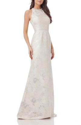Women's Carmen Marc Valvo Infusion Embellished Brocade Gown $338 thestylecure.com