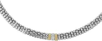 """Lagos 18K Gold and Sterling Silver Diamond Lux Necklace, 16"""""""