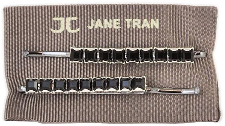 Jane Tran Single Row Square Crystal Bobby Pin Set, Black Diamond 1 ea