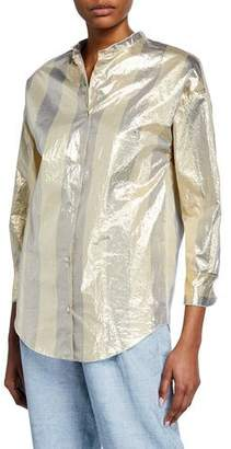 Forte Forte Metallic Striped Button-Front Top