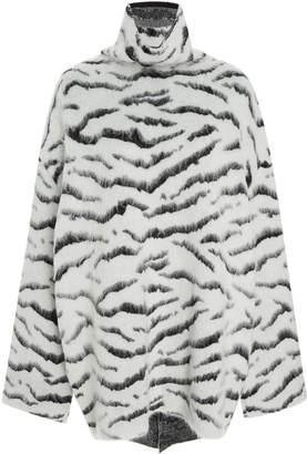 Givenchy Zebra-Print Brushed Mohair-Blend Turtleneck Sweater