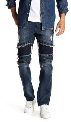 Request Zip Ripped Panel Stretch Jeans