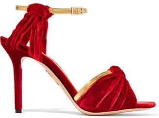 Charlotte Olympia Broadway Metallic Leather-trimmed Velvet Sandals - Claret