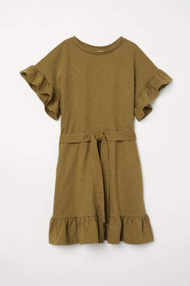 H&M Flounced Jersey Dress - Green