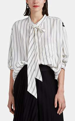 Balenciaga Women's Striped Silk Twill Tieneck Blouse - White