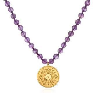 Satya Jewelry Women's Amethyst Gold Mandala Pendant Mala Necklace 32-Inch