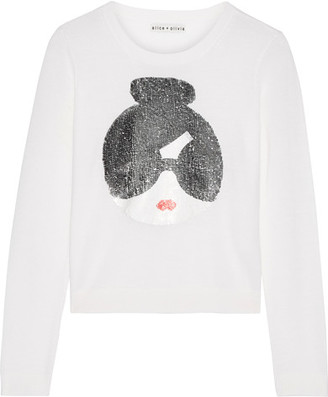 Alice + Olivia - Stace Face Sequin-embellished Stretch-wool Sweater - Ivory $360 thestylecure.com