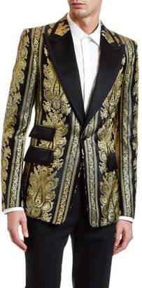 Dolce & Gabbana Men's Metallic Jacquard Peaked-Lapel Sport Jacket