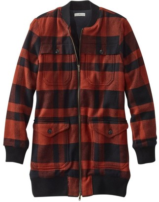 L.L. Bean L.L.Bean Women's Signature Chamois Long Bomber Jacket, Plaid