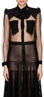 Givenchy Women's Embellished Tulle & Crêpe De Chine Blouse