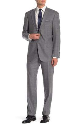 Hart Schaffner Marx Light Grey Windowpane Two Button Notch Lapel Classic Fit Suit