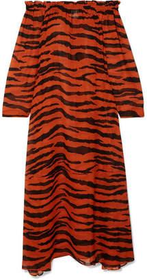 Marios Schwab On The Island By St Bart Off-the-shoulder Tiger-print Silk-georgette Maxi Dress - Zebra print