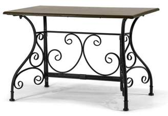 Glamour Home Aceline Dark Brown Wood Table Black Metal Frame Apartment-size Coffee Table with Floral Leg Design