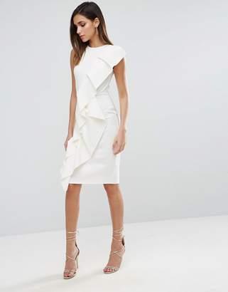 Asos Design Scuba Asymmetric Double Ruffle Front Midi Dress