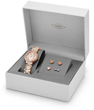 Fossil Virginia Three-Hand Stainless Steel Watch and Earring Set