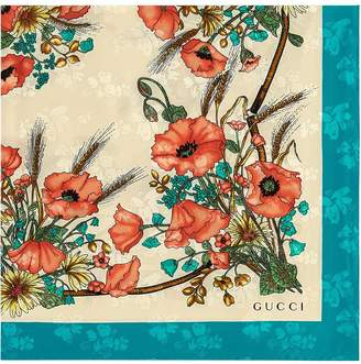 Gucci Silk carré with poppy print