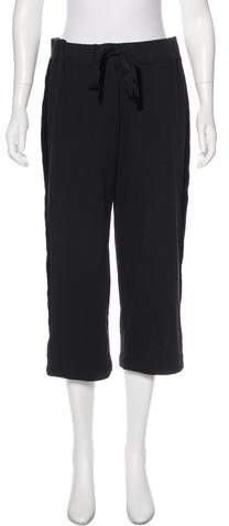 Kate Spade Broome Street Velvet-Trimmed High-Rise Sweatpants